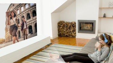 Sit the unit two metres from the wall and you'll get an image size roughly equivalent to a 65-inch TV.